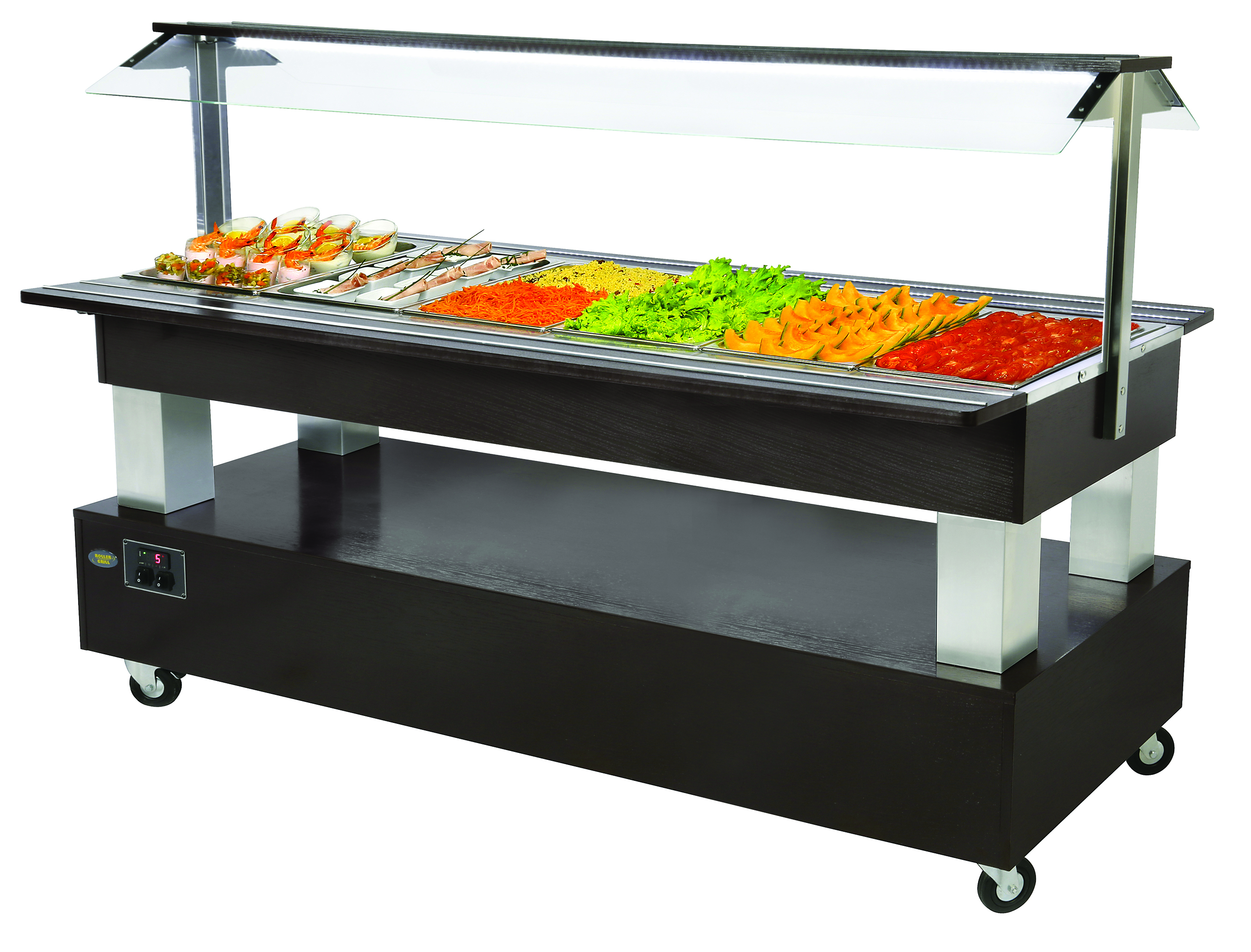 BUFFET CENTRAL REFRIGERE 6 BACS GN 1/1 WENGE