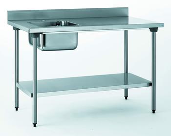 TABLE DU CHEF CHR 700X1400 BAC A GAUCHE+ETAGERE- AVEC ROBINE
