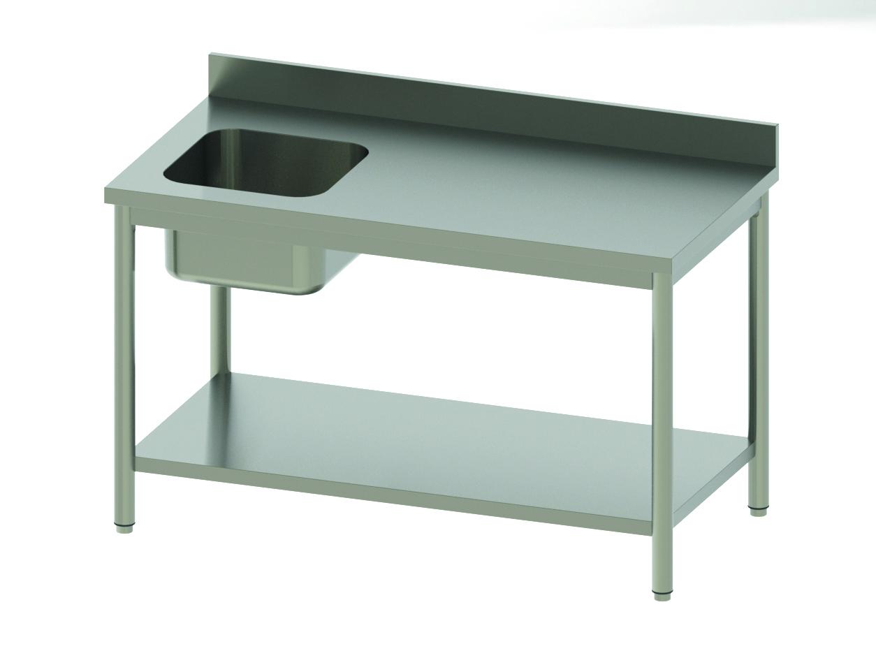 TABLE CHEF ADOSSÉE AVEC BAC À G ET ÉTAGÈRE BASSE