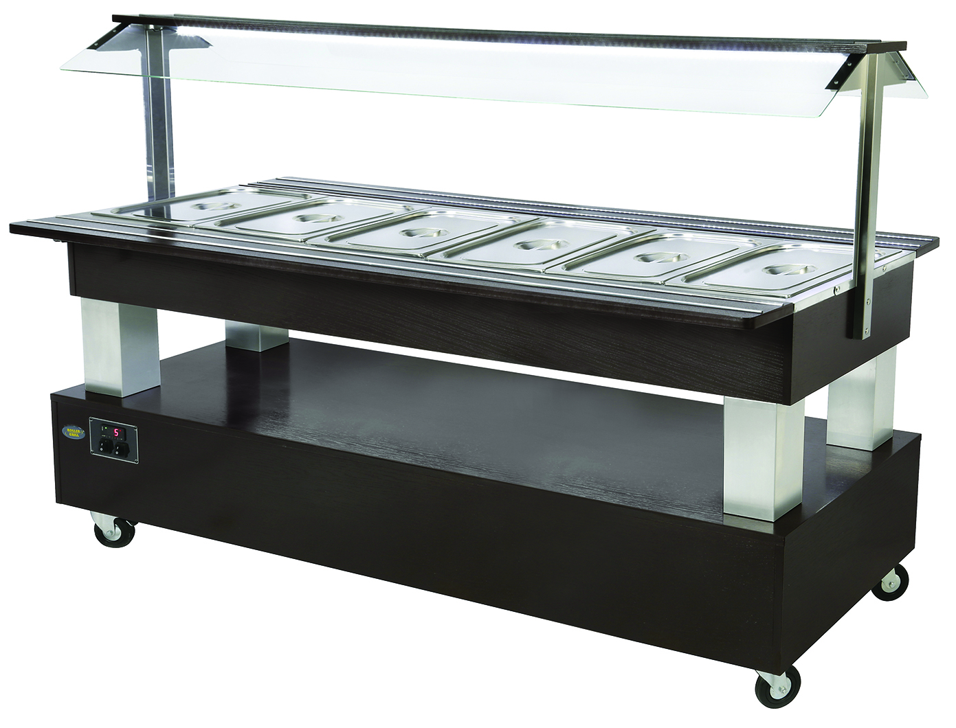 BUFFET CENTRAL CHAUFFANT 6 BACS GN 1/1 WENGE