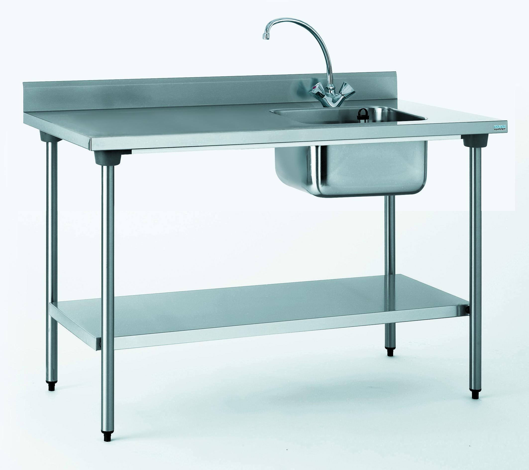 TABLE DU CHEF CHR 700X1200 BAC A DROITE+ETAGERE- AVEC ROBINE