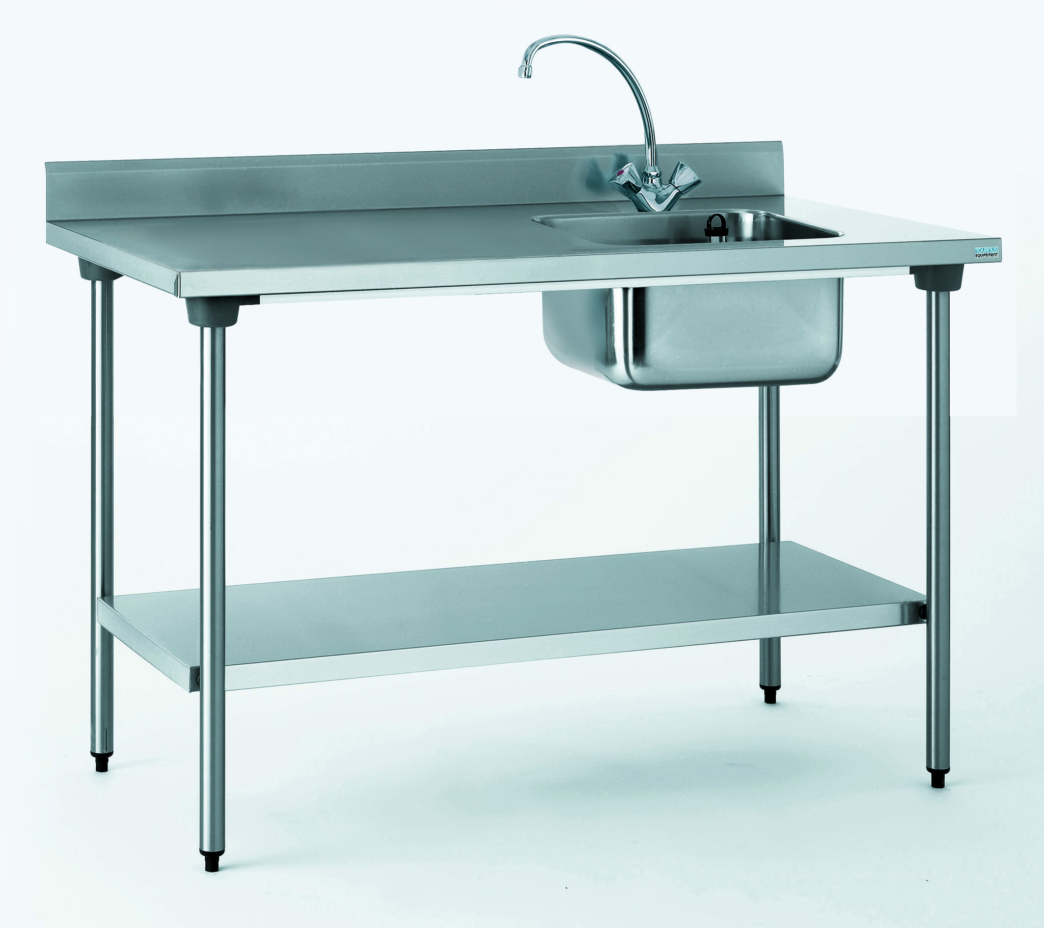 TABLE DU CHEF CHR 700X1400 BAC A DROITE+ETAGERE- AVEC ROBINE