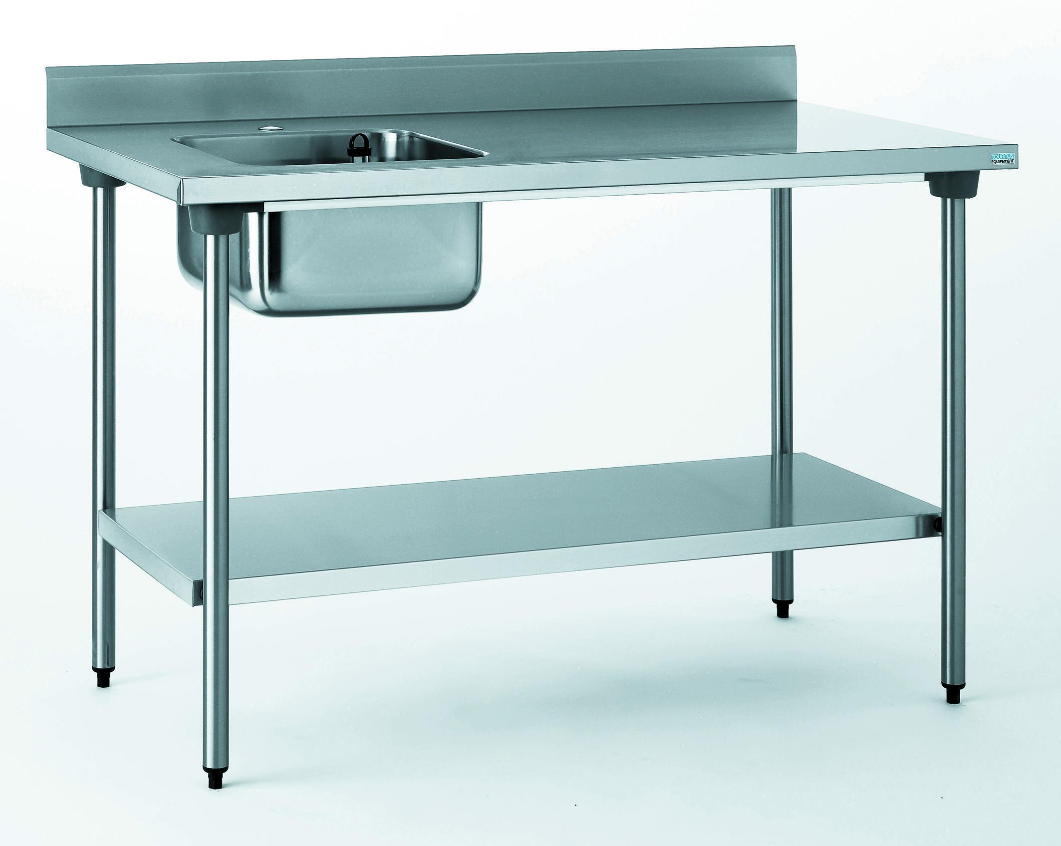 TABLE DU CHEF CHR 700X1400 BAC A GAUCHE+ETAGERE- SANS ROBINE