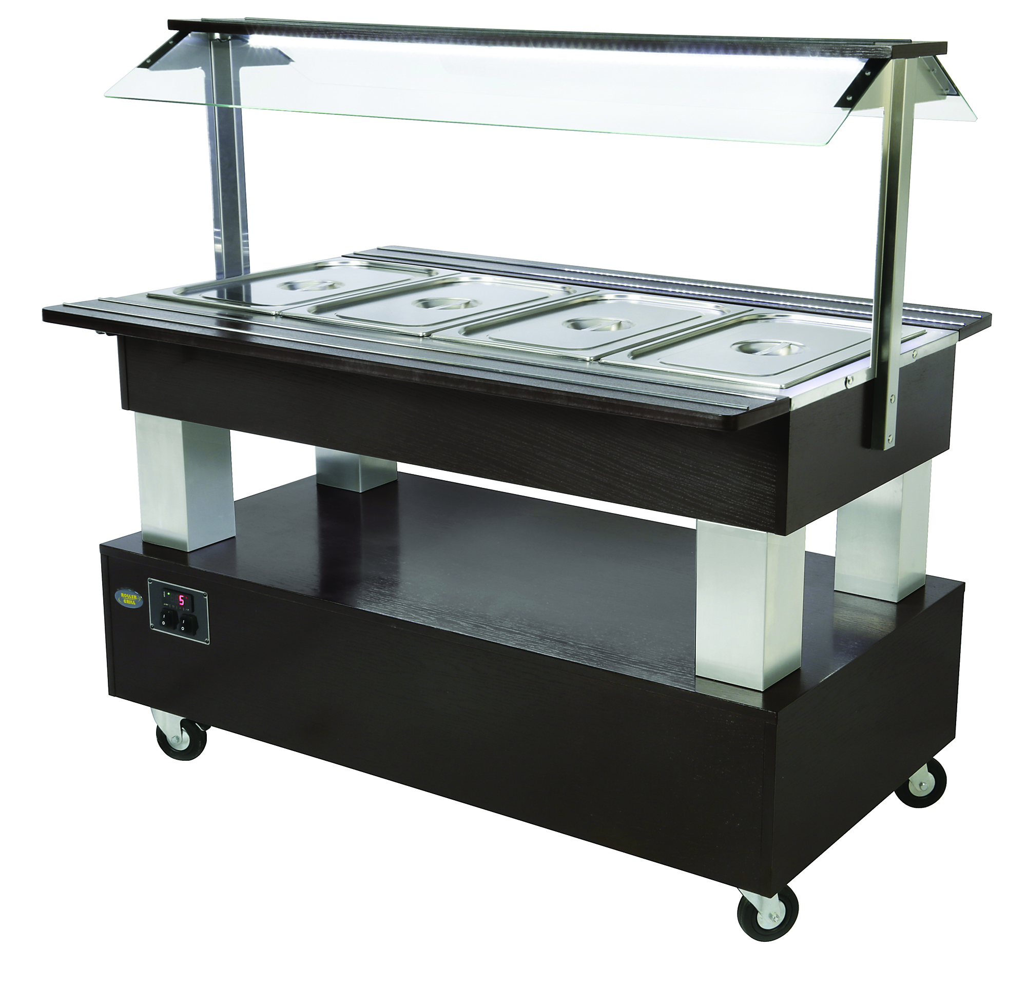 BUFFET CENTRAL CHAUFFANT 4 BACS GN 1/1 WENGE
