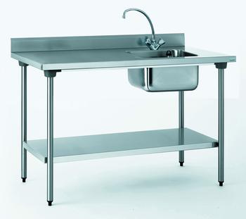 TABLE DU CHEF CHR 700X1400 BAC A DROITE+ETAGERE- SANS ROBINE